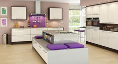 Create a modern classic look with our Fusion Kitchen range, featuring chic styling with sophisticated finishes. Shop this show-stopping kitchen style today. Kitchen Units, New Kitchen, Kitchen Ideas, Purple Kitchen, Kitchen Paint, Kitchen Cupboards, Kitchen Inspiration, Kitchen Designs, Kitchen Colour Schemes