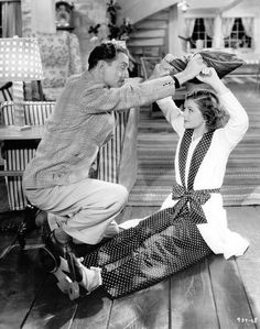 "Myrna Loy and William Powell in the screwball comedy ""Libeled Lady"" (1936)"