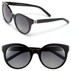 Tory Burch 54mm Polarized Cat Eye Sunglasses ($140) ❤ liked on Polyvore