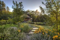 Large stepping stones through the garden and grass areas JMMDS Garden of the Plumes, Bill Sumner photo