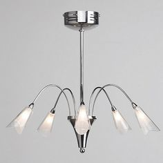 Litecraft Liberty 5 light semi flush Chrome ceiling light- | Debenhams