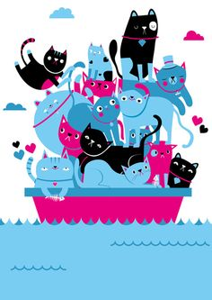 Cats on a Boat (via aaronmiller on tumblr)