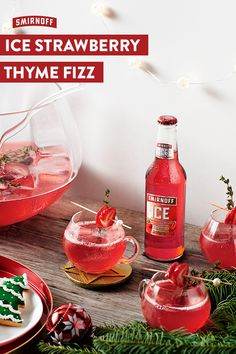 Turn up to the Holiday party with this Christmas cocktail recipe made with Smirnoff ICE Strawberry. It's a delicious festive drink that keeps on giving and giving all Christmas long.    Smirnoff ICE Strawberry Thyme Fizz Recipe (Serves 6):  4 bottles of Smirnoff ICE Strawberry, ½ cup of lemonade, Strawberry slices, 4-6 sprigs of thyme and Sparkling Wine.  Mix Smirnoff ICE Strawberry and lemonade in a glass. Add fresh strawberries and thyme. Top with sparkling wine.