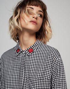 Pull&Bear - mujer - novedades - ver todo - camisa cuadro vichy - negro - 05471310-V2017