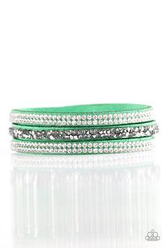 Mega Glam   $5 - No Tax #bracelet #uniquelyurban #green #suede #rhinestones #yourblingboss