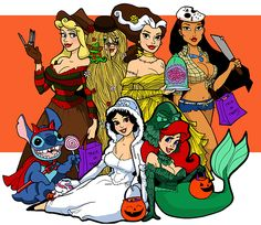 Aurora- Freddie Kroger Rapunzel- Cousin it Belle- Bride of Frankenstein Pocahontas- Jason Snow White- Abominable snowman (yeti) Ariel- Lake Mosnter Stitch- Devil