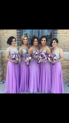 Long Bridesmaid Dresses Lilac Chiffon Sweetheart Maid of Honor Summer  Sequins Beads Bling Formal Cheap Long Bridal Wedding Party Gowns 2016 936303d90691