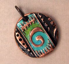 Maori Koru Spiral Pendant - Handcrafted Etched Copper Enamel Pendant with Spiral