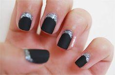 Silver Half moons #nailart #aussienails #justnailin #blacknails #halfmoons #glitternails Black Nails, Glitter Nails, Nailart, Nail Polish, Moon, Silver, Beauty, Black Almond Nails, Glitter Accent Nails