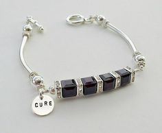 Look good while doing good.    A modern bar design bracelet formed with Swarovski crystal cubes and square rhinestone spacers. The crystals are