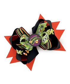 Loving this Black & Green 'Happy Halloween' Layered Bow Clip on #zulily! #zulilyfinds