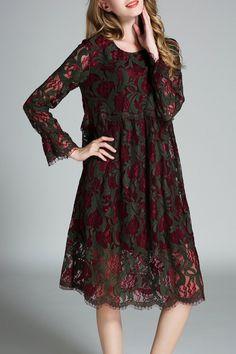 Poscilla Red/green Lace Midi Smock Dress | Midi Dresses at DEZZAL