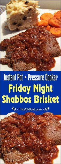 Pressure Cooker Friday Night Shabbos Brisket is perfect for Friday Night Shabbat Dinner. Cooks in only one hour, leaving you plenty of time for Shabbos. via @thisoldgalcooks