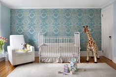 This teal and gold wallpaper says it all - Project Nursery #wallpaper #featurewall