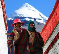 Pilgrims circle the Choku monastery with Mount Kailash in the background, Tibet
