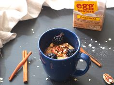 Who says breakfast has to be boring? Cinnamon Roll Oatmeal Soufflé in a Mug