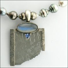 A Micky Roof Masterpiece - Meteorite framed in sterling silver, Tanzanite, Moonstone, Tahitian Pearls For You Blue, Rare Gems, Tahitian Pearls, Custom Design, Calendar, Gemstone Rings, Pendants, Events, Jewels