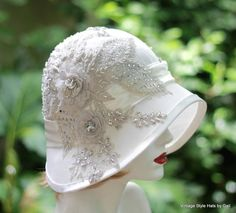 20's Bridal Hat Wedding Vintage Style Wedding Silver por GailsHats