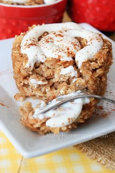 Mostly Homemade Mom - Skinny Cinnamon Roll Baked Oatmeal  www.mostlyhomemademom.com