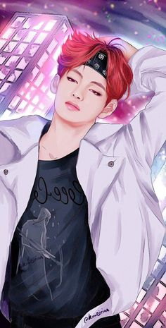 Ref: His red hair is my new favorite thing in this world Anime Girl Cute, Cute Anime Couples, Bts Manga, Taehyung Red Hair, Fan Drawing, Taehyung Fanart, Bts Drawings, Bts Chibi, Kpop Fanart