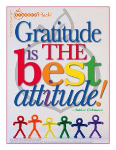 """Gratitude is the best attitude!"" PeachQuotes Studio™"