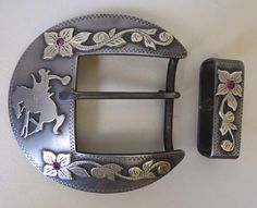 "9108 New Handmade MARION TURNER 1 ½"" Two Piece Belt Buckle Set"