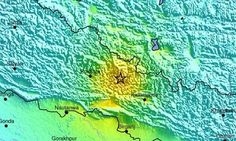 A map released by the US Geological Survey showing the location of the 7.9-magnitude earthquake.