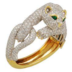 1stdibs | DAVID WEBB Diamond & Emerald Panther Bangle