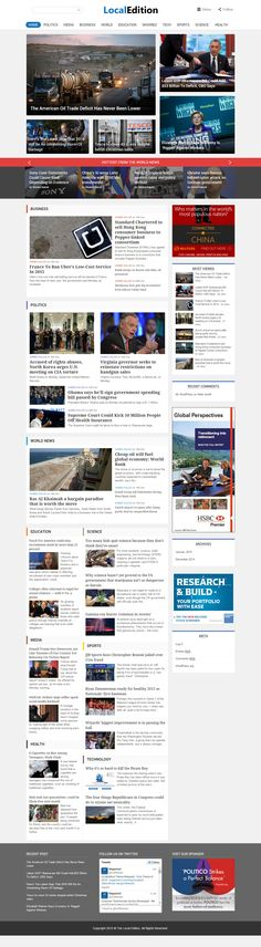 LocalEdition is Responsive WordPress Theme for News and Magazine websites, Political & Business portals, Stock & Finance news sites. http://www.responsivemiracle.com/cms/wordpress/localedition-premium-responsive-wordpress-news-magazine-theme/