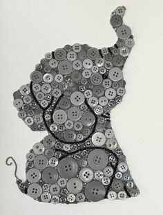 This adorable baby elephant is made from varying sizes of buttons and beads on a 9x12 piece of watercolor paper. I prefer watercolor paper because it bonds better with the glue ensuring your artwork stays pristine for many, many years to come. My button art is unique as I use small