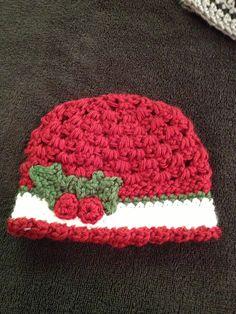 Crochet baby girl hat, baby girl beanie, Christmas hat. $15.00, via Etsy.