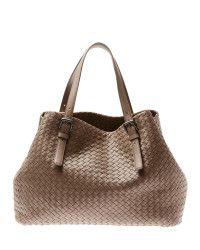 470ab06aec10 Bottega veneta Intrecciato Woven Leather Tote Bag in Brown (grey)