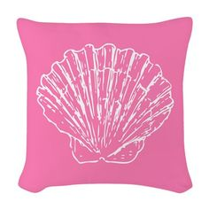 Here's a throw pillow that features a simple, yet elegant design - an outline of a white scallop on a baby pink background. Nautical Flip Flops, Designer Throw Pillows, Outline, Duvet, Tapestry, Elegant, Simple, Fabric, Pink