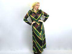 Vintage 40s Long Green Plaid Hostess Dress by GlennasVintageShop