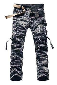 Trendy Straight Leg Camo Design Multi-Pocket Military Style Cotton Blend Cargo Pants For Men