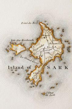 Antique map Sark, Channel Islands