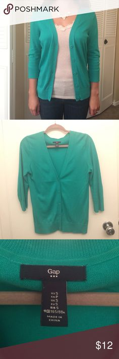 Dark Mint Green Cardigan Very soft and comfortable, perfect to throw on over a blouse or dress. In great condition! GAP Sweaters Cardigans