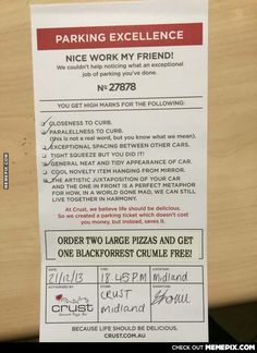Parking tickets for assholes for support