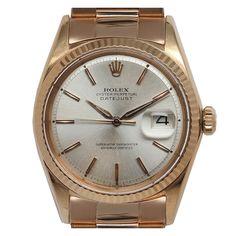 ROLEX Pink Gold Datejust Wristwatch Ref 1601 circa 1960s ....essential