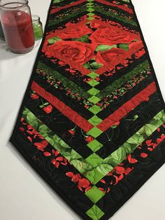 Black and Red Rose Table Runner | Valentine, Shower, & Anniversary Dinner Quilted Table Topper | Timeless Treasures Glamour Fabric