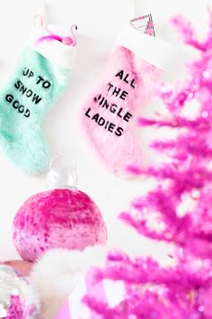 Make these DIY graphic stockings in just one easy step! They make a great gift for far away besties, just fill 'em up with fun little treats! Colorful Christmas Decorations, Christmas Colors, Christmas Holidays, Christmas Crafts, Xmas, Fourth Of July, Hanukkah, Great Gifts, Stockings