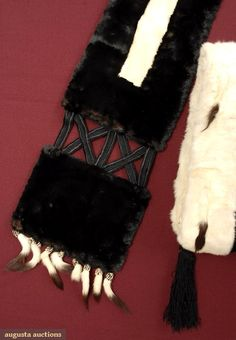 Shaped stole & muff w/ black fur bordered w/ white & ermine tails, lined in silk satin,