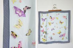 vintage 70s Field of Butterflies Striped by littleveggievintage, $22.00