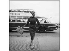 Ivy Nicholson and the panoramic bus by Georges Dambier