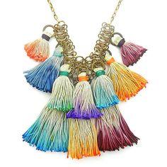 Ombre colorido borla babero collar collar de por osofreejewellery
