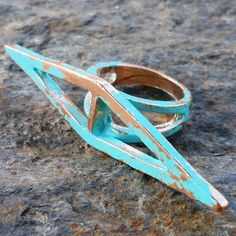 Channeling Geometry verdigris patina upcycled by lluviadesigns, $16.00