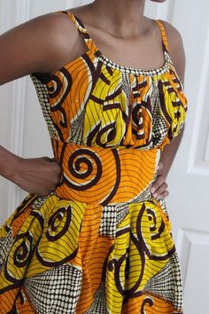 African Print Pleated Sun Dress by ifenkili