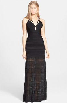 1cd449760e95 Herve Leger Women s Mixed Stitch Bandage Gown X Black