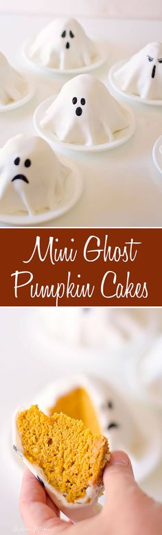 DIY Mini Ghost Cake recipe. Easy to make and adorable these mini ghost cakes are a huge hit with everyone