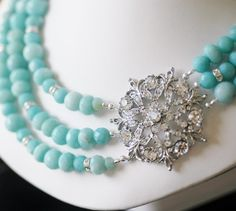 Something Blue Evening Brooch Detail Necklace, Bridal Jewelry for your Princess Wedding or Red Carpet Event